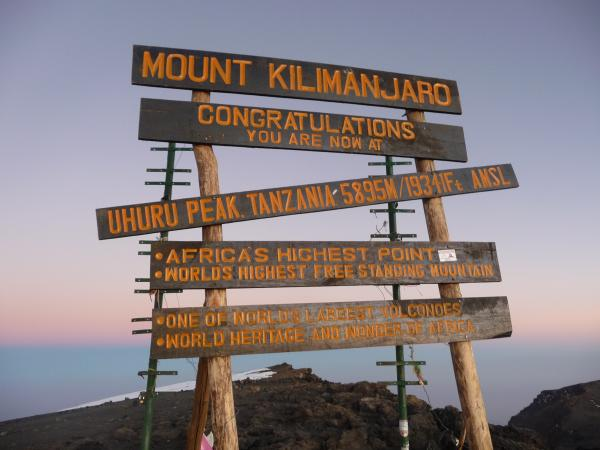 kili summit sign